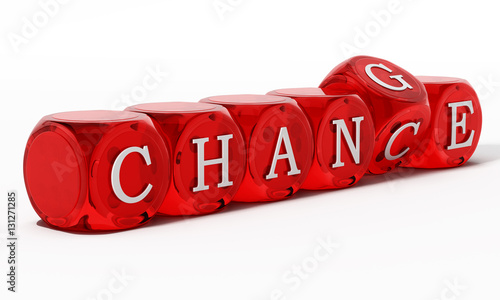 Chance word turning to change. 3D illustration