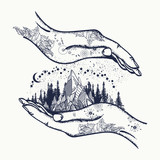 Mountains in hands, tattoo. Symbol of travel, tourism