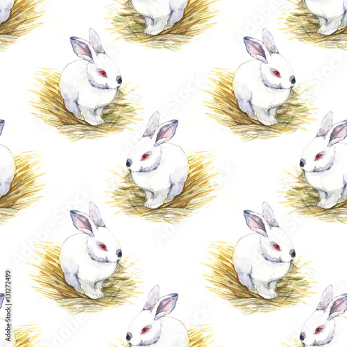 Cotton fabric rabbit, easter, watercolor, seamless pattern