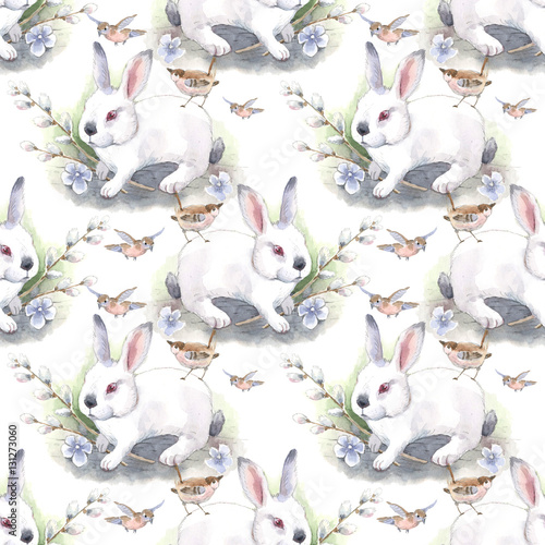 rabbit, easter, watercolor, seamless pattern - 131273060