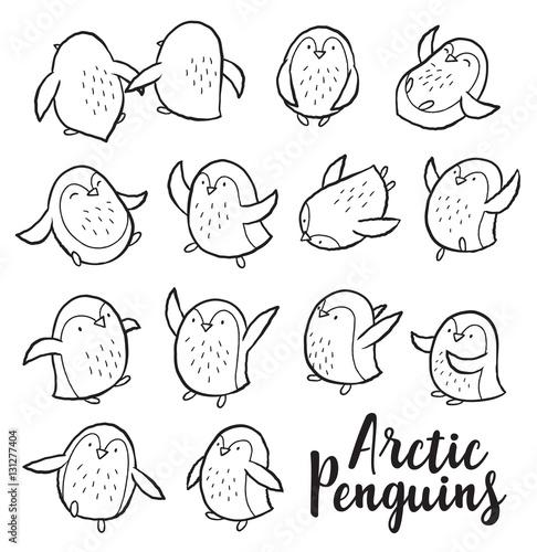 Papiers peints Cartoon draw Vector outline set with arctic penguins