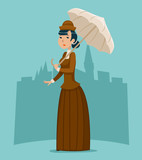 Wealthy Cartoon Victorian Lady Businesswoman Character Icon on Stylish English City Background Retro Vintage Great Britain Design Vector Illustration