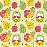 Eco food seamless pattern with happy cabbage, carrot, pear and apple cartoon characters isolated on white background. Natural eco friendly products and healthy vegetarian food packaging. Farm food