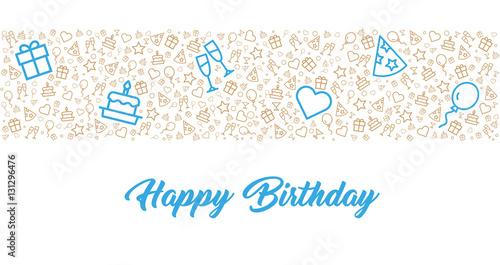 Karte zum Geburtstag mit eleganten Icons und Happy birthday