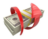 Pile of Dollars and arrow. Image with clipping path