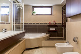 Modern beige and brown bathroom