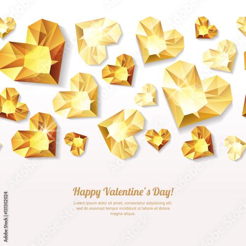 Walentynki-dzień bezszwowe tło z 3d złote serce diamenty, klejnoty, biżuterię. Złoty tekstura wakacje na kartkę z życzeniami Walentynki, baner, plakat, ulotka, zaproszenie na przyjęcie, sklep z pamiątkami biżuteria.