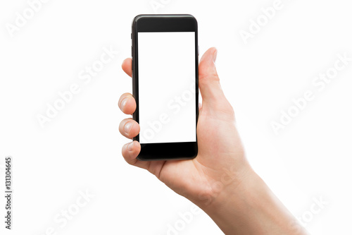 Poster Male hand holding black cellphone isolated at white background.