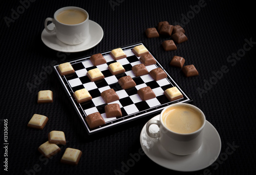 Poster Coffee and chocolate on the chessboard