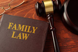 Book with title family law on a table. - 131307462