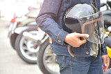 Motorcycle, Biker wear jeans suit with helmet.