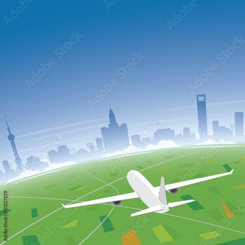 Poster Shanghai Skyline Flight Destination