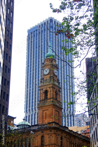 Poster Classic Clock Tower, The Classic Place in Downtown at Sydney, Australia