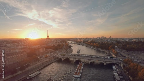 Wall mural Aerial view of Paris during sunset