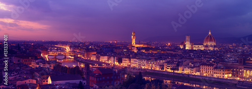 Fotobehang Violet Panorama of famous Florence city and river Arno after sunset with night illumination, Tuscany, Italy, Europe. Travel outdoor sightseeing background.