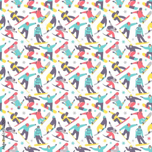 Cotton fabric Snowboard seamless pattern vector.