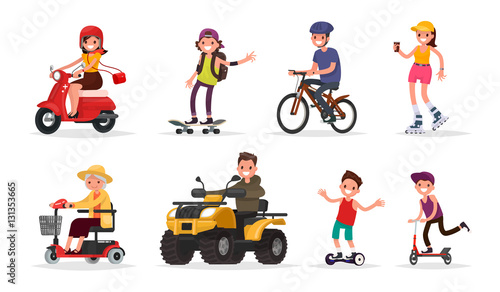 People and wheeled: vehicles, scooter, skateboard, bicycle, roll