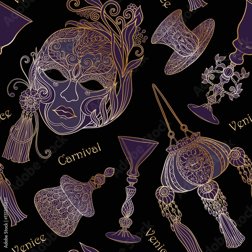 Cotton fabric Venetian carnival mask, Venetian glass, bag, fan. Seamless patte