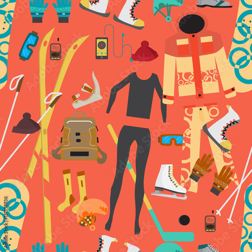 Cotton fabric Seamless textile pattern with equipment and supplies for winter