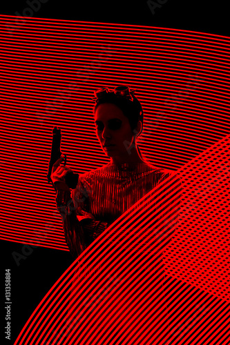 Secret Agent Spy Silhouette in Light Painting  Backdrop Poster