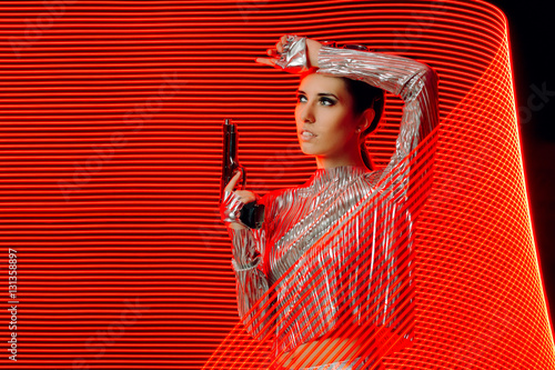 Poster Secret Agent in Silver Outfit in Light Painting  Backdrop