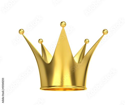 Złota korona odizolowywająca na bielu