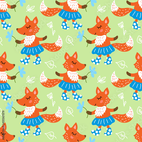 Cotton fabric Seamless pattern with fox
