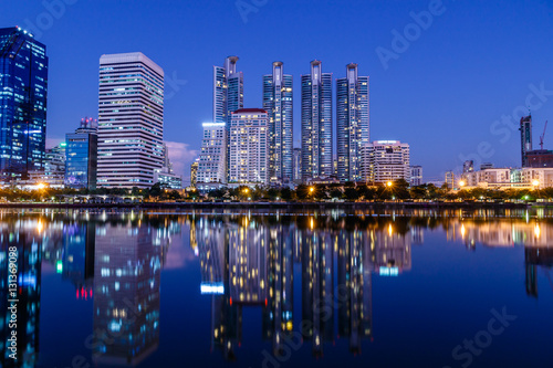 Foto op Canvas Texas Bangkok's cityscape at night,looking across the lake at Queen Sirikit National Convention Center.