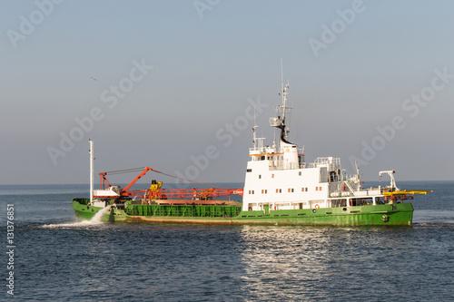 Hopper Dredger Vessel working in open sea Poster
