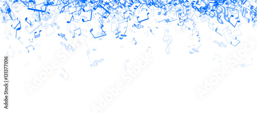 Fototapeta White musical banner with notes.