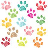 Colorful paw print