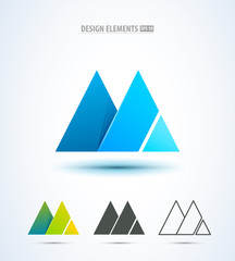 Abstract mountain icon or letter M logo elements. Origami style © nickimpression