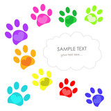 Colorful heart paw prints