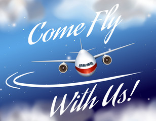 Advertisement poster with plane flying
