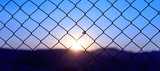 Wire mesh fence on a sunset background - 131392470