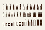 Beer package icon set: bottle, can, box - 131392847