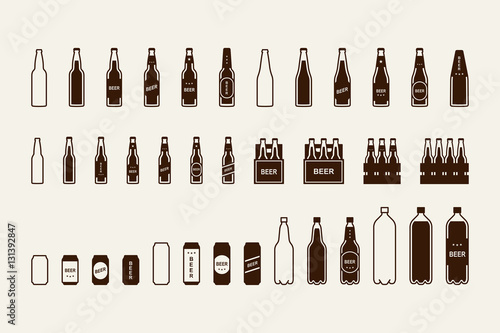 Fototapeta Beer package icon set: bottle, can, box