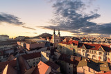 Evening over the city of Brno, Morawia, Czech Republic
