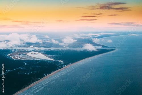 Western Dvina Flows Into Baltic Sea. River Divides Northern