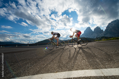 Poster bicycle ride on mountain pass