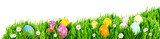 Nests of decorated Easter eggs, nestled in grass nests - 131409867