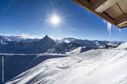 Sun on the ski slopes in Courchevel, France Poster