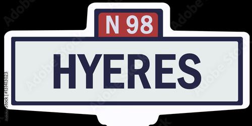 Poster HYÈRES - Ancien panneau entrée d'agglomération