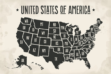 Poster map of United States of America with state names. Black and white print map of USA for t-shirt, poster or geographic themes. Hand-drawn font and black map with states. Vector Illustration