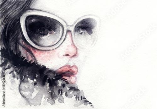 Beautiful woman face. Fashion watercolor illustration. Beauty background © Anna Ismagilova