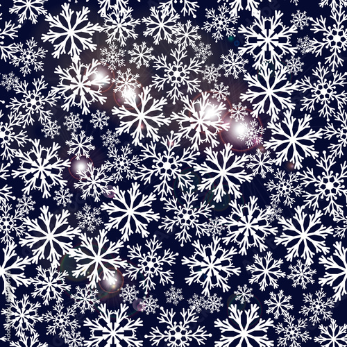 Keuken foto achterwand Vrouw gezicht Seamless navy blue background with snowflakes. Pattern snowfall with sparkling flares.