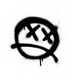 Graffiti emoticon face sprayed in black on white - 131433277