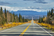 Warm colors of fall on Edgerton Highway to Chitina. Wrangell Mountains in the background. Alaska