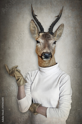 Deer in clothes. Concept graphic in vintage style. - 131433615
