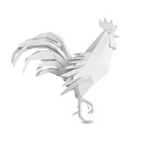 Origami rooster isolated on white background